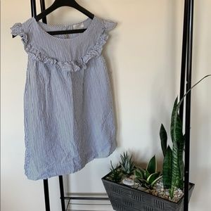 ANN TAYLOR LOFT BLOUSE SZ L WHITE/ grey strips.